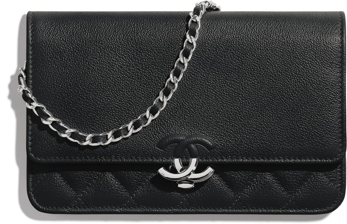 wallet on chain black calfskin